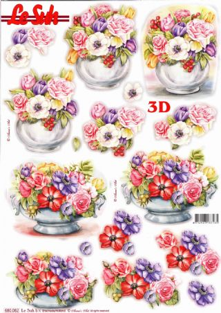 Anemone Flowers In Vases Die Cut 3d Decoupage Sheet From Le Suh - NO CUTTING